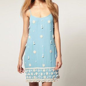 Beaded Blue Party Dress French Connection